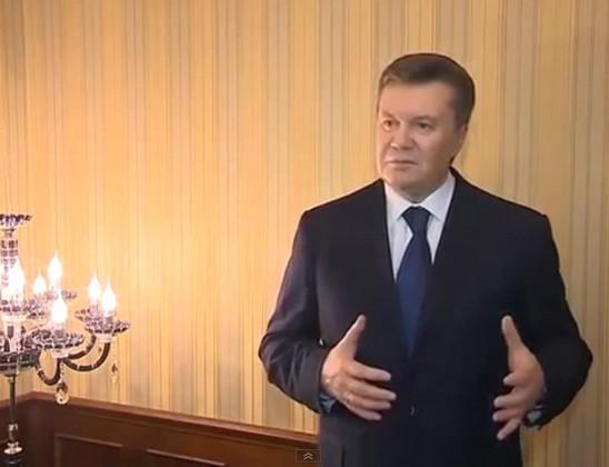 Кадр Януковича из обращения, назвав происходящее государственным переворотом и бандитизмом