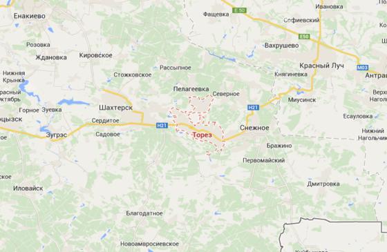 Самолет был сбит над Торезом, в Донецкой области